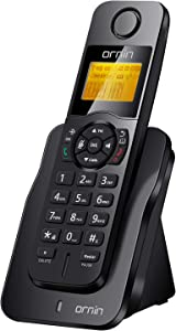 Ornin D1005 Cordless Desk Telephone for Home and Office Use, ECO Technology, Rubber Oil Injection(Single Pack, Black)…