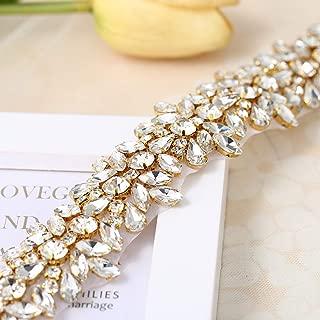 Luxury Bling Crystal Rhinestone Applique Trims 1 Yard for Bridal Belt- Gold-1 Yard(1.26