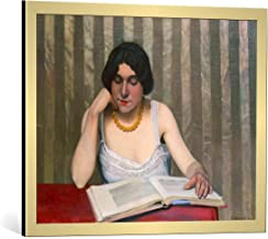 kunst für alle Framed Art Print: Felix Edouard Vallotton Leserin mit gelber Kette - Decorative Fine Art Poster, Picture with Frame, 29.5x23.6 inch / 75x60 cm, Gold Brushed