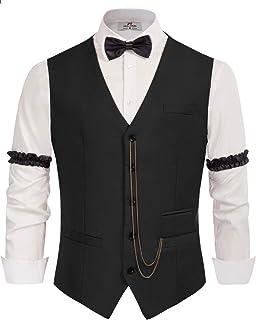 1920s Men's Gatsby Costume Accessories Set-Vest,Bow Tie,Armbands,Pocket Watch