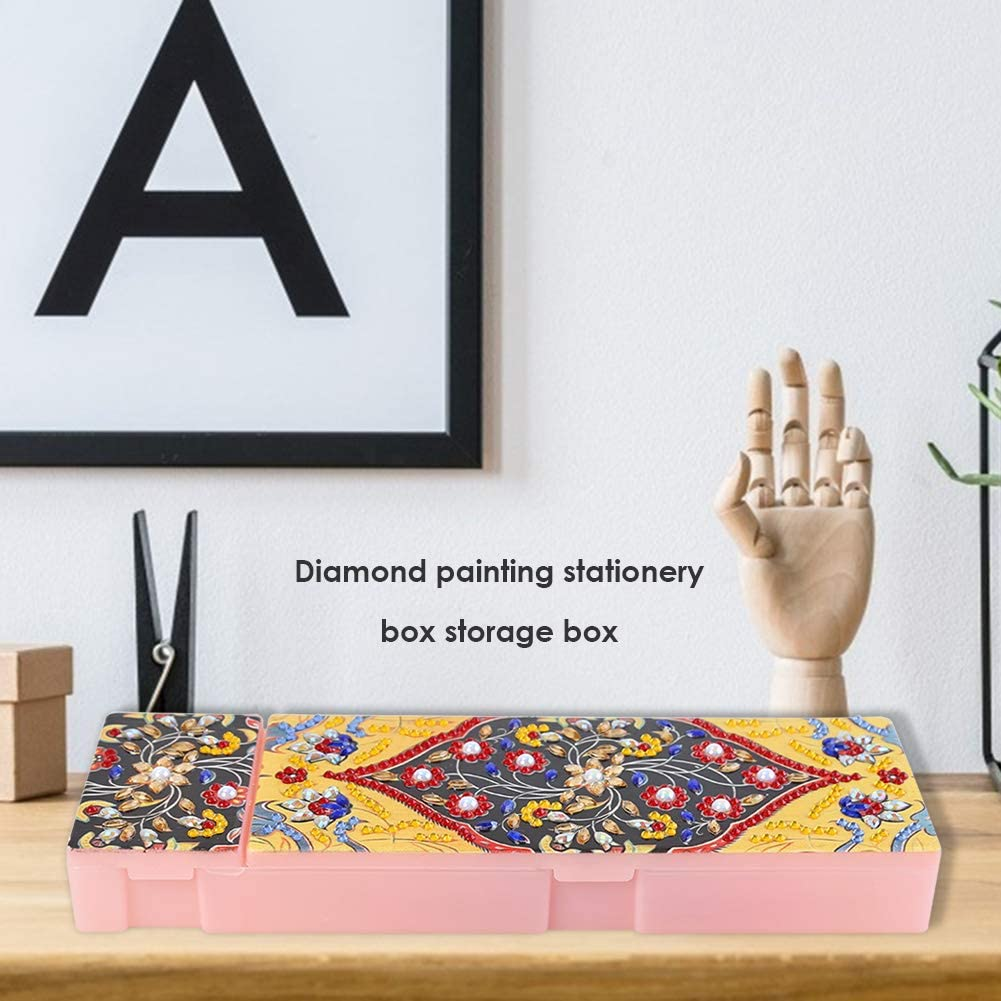 Pencil Box Plastic DIY Diamond Painting Storage Case Stationery Organizer Mosaic Handmade Gift DIY Mandala Special Shaped 2 Grids Students Pencil Box