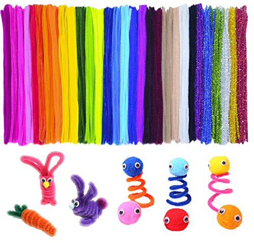 100x Chenille Stems Craft Pipe Cleaners Fluffy Pom Poms Toy Eyes