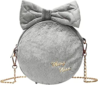 Everpert Women Shoulder Bag Bowknot Round Soft Plush Messenger Bag Crossbody Bags