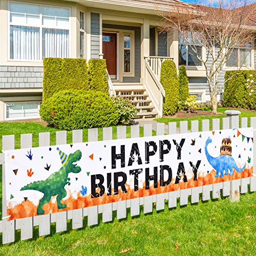 Watercolor Dinosaur HAPPY BIRTHDAY Banner - 19'' x 118'' Large Outdoor Decorations for Boys Kids Dinosaur Birthday Party Supplies Big Fence Yard Sign Photo Background