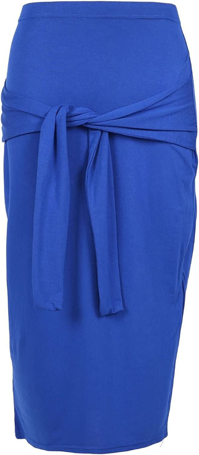 Be Jealous Women's Front Waist Bow Tie Knot Pencil Bodycon Stretchy Midi Skirt S/M (US 4/6) Coral