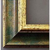 Artecentro - Marco dorado para cuadros - Dorado/Color con o sin paspartú de madera - Varias medidas (Oro/Verde, 80 x 100)