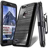 COVRWARE [Iron Tank] case compatible with ZTE Blade Z Max (Z982)/Sequoia, with Built-in [Screen Protector] Heavy Duty Full-Body Holster Armor [Brushed Metal Texture] Case [Belt Clip][Kickstand], Black