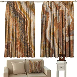 zojihouse Marble Curtain Darkening Onyx Marble Motif Travertine Mineral Formed Watercolor Ink Textured Illustration W55.5xL45.5 Multicolor