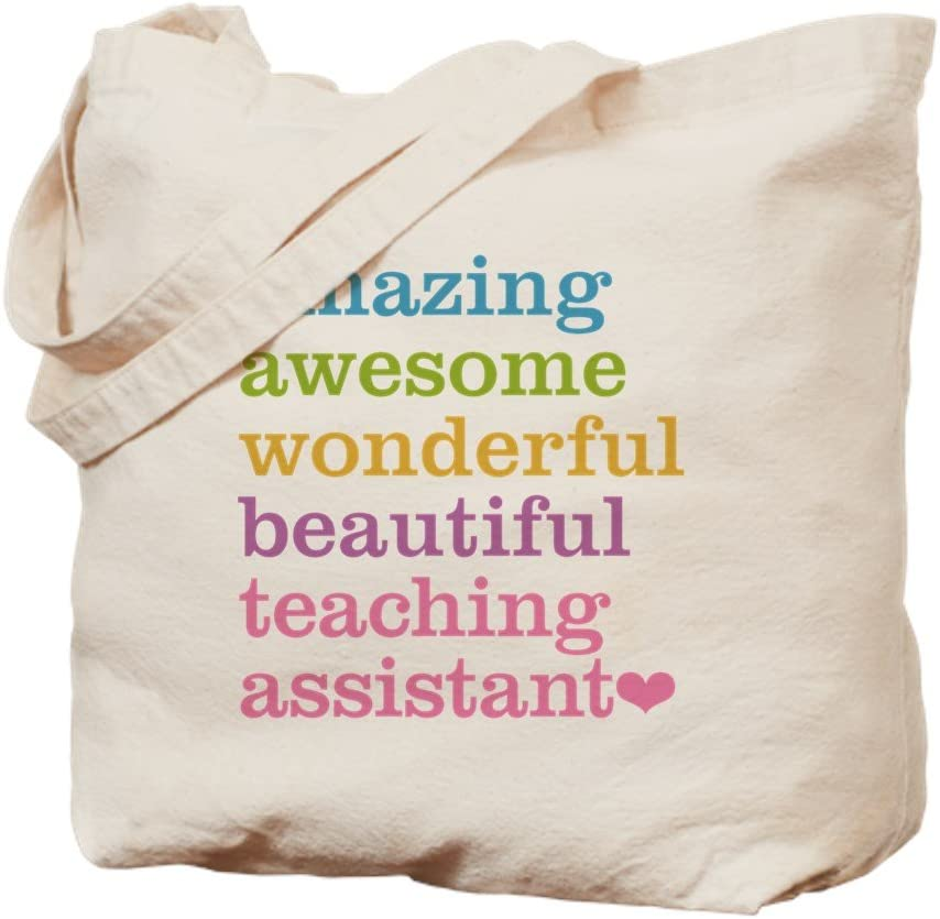 CafePress Amazing Teaching Assistant Tote Bag Natural Canvas Tote Bag, Reusable Shopping Bag