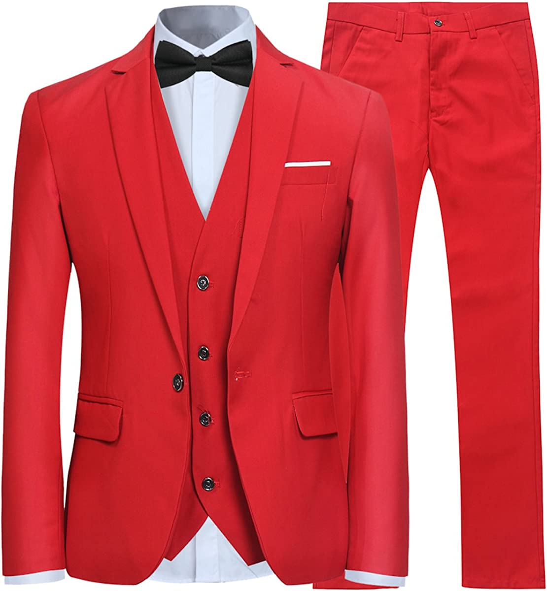 YFFUSHI Mens 3 新品 送料無料 Piece Suit Slim Fit チープ Color Button Formal One Solid
