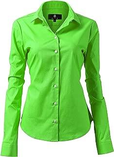 Dress Shirt for Women - Long Sleeve Women Tops Blouses, White Red XS M 2 XL