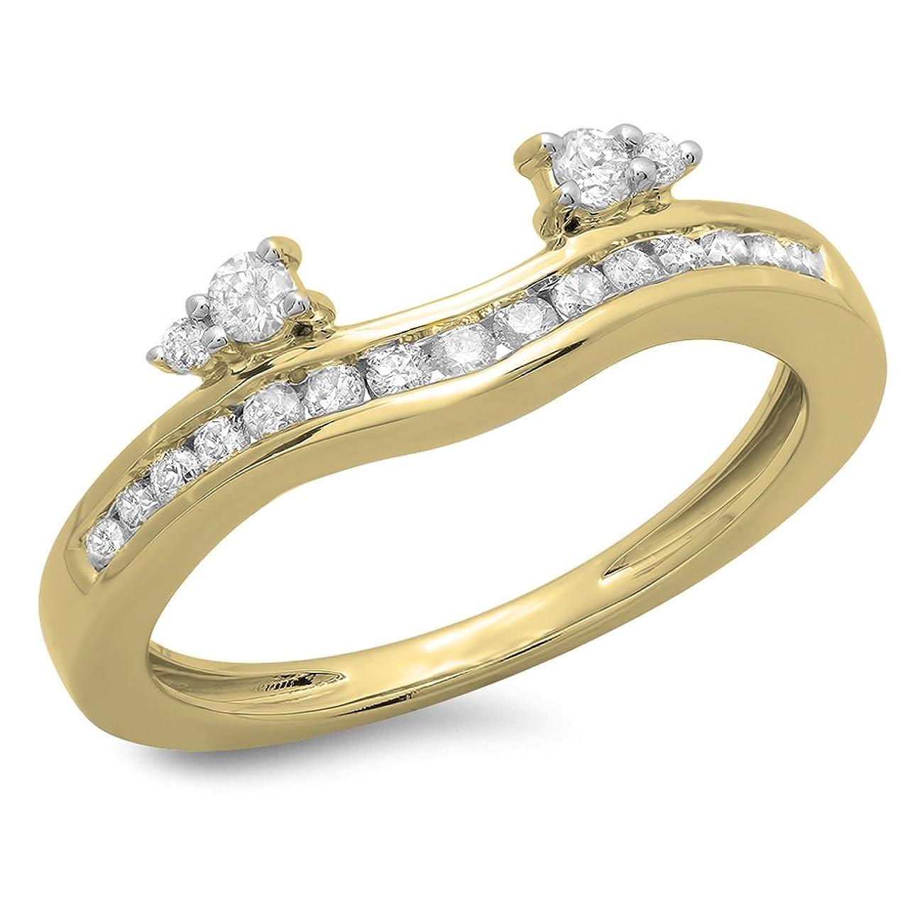 0.40 Carat (ctw) 10K Gold Diamond Ladies Anniversary Wedding Enhancer Guard Band
