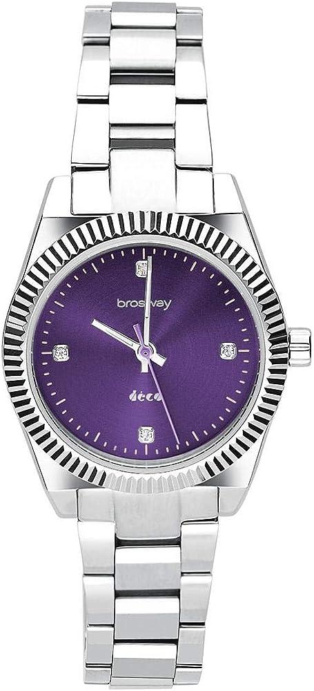 Brosway deco orologio in acciaio 304 con quadrante ametista sunray e zirconi  donna con bracciale in omaggio, WDC19K