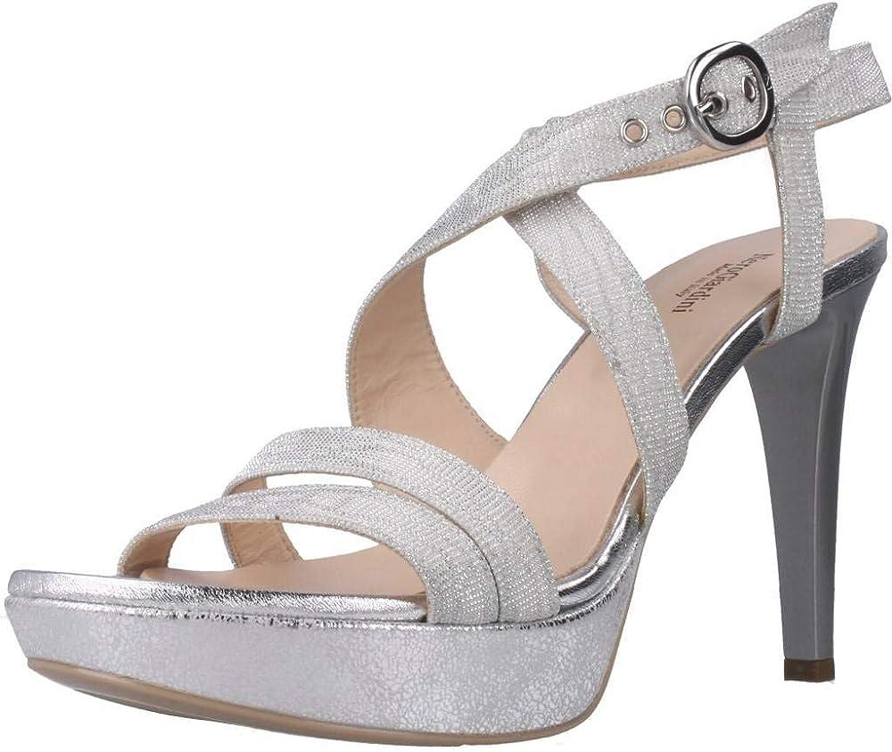 Nero giardini sandali con il tacco a spillo scarpe da donna in pelle/tessuto E012830DE1