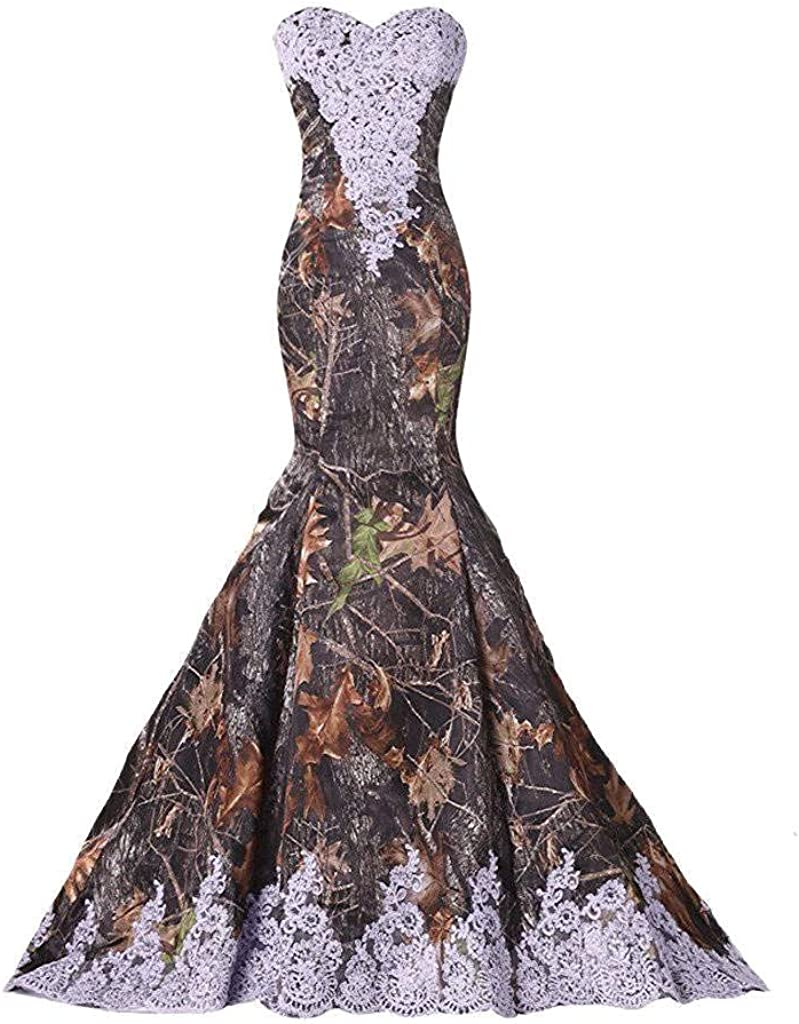 DINGZAN Camo and Lace Wedding Dress Mother of The Bride Formal Dresses 2020