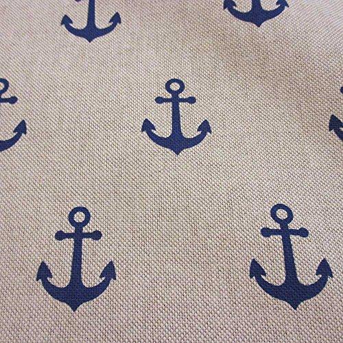 Stoff Meterware Baumwolle Natur Anker blau Marine Dekostoff Kissen maritim Meer Boot