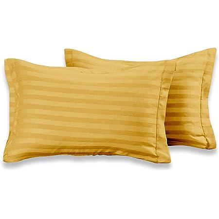 "Cloth Fusion Amor 210 TC 100% Cotton 2 Piece Pillow Covers(18""x 27"",Mustard)"