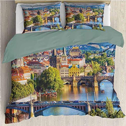 Elxmzwlob Wanderlust Duvet Cover Set, Charles Bridge in Prague, Decorative 2 Piece Bedding Set with 1 Pillow Sham, Queen Full Twin Size