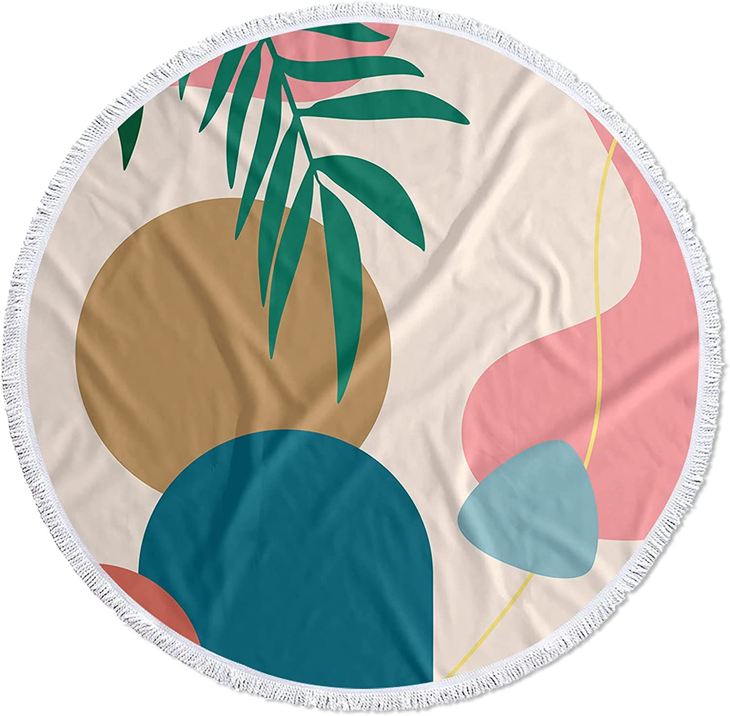 Meet Max 82% OFF 1998 Round Columbus Mall Beach Towel with Century Abstract Mid Tassels Ar