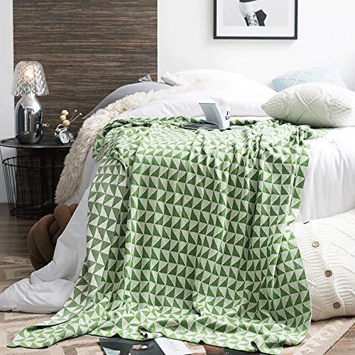 Manta de sofá Estilo nórdico Suave punto de algodón Manta de tiro Sofá Sofá Manta de la decoración Multifuncional Manta de ocio Manta de siesta Manta de viaje ( Color : Green , Size : 130cmx180cm )