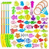 AUUGUU Magnetic Fishing Game Water Toy - 4 Fishing Poles with Working Reels, 4 Nets and 50 Colorful Magnetic Fish for Kiddie Pool, Water Table or Bath Fun ¨C Toddler Toy for Ages 3-5