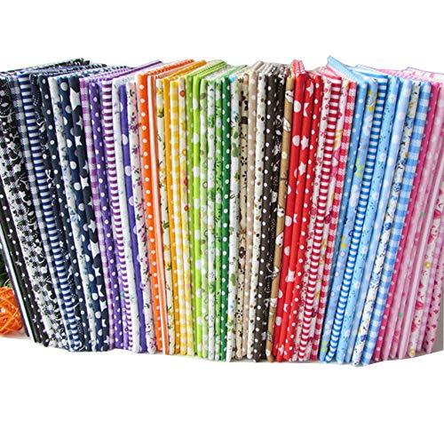 Lotto di 56 pezzi di tessuti in cotone, con stampa floreale, design assortiti, per patchwork, 25 x 25 cm