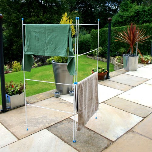 JVL Caravan Indoor/Outdoor Two Panel Folding Clothes Airer Laundry Dryer, White