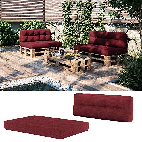 Vicco Palettenkissen Set Sitzkissen + Rückenkissen 15cm hoch Palettenmöbel (Sitz+Rückenkissen, Rot)