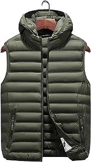 JFSKD Autumn and winter down cotton vest men's casual hooded jacket solid cardigan men's vest
