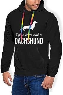 Men's Hooded Fleece Sweatshirt Live is Better with A Dachshund Black
