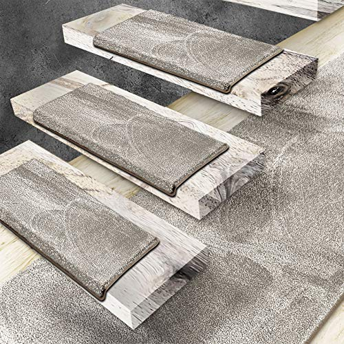 Floordirekt Velours-Stufenmatten Sundae | Halbrund oder Eckig | Treppenmatten in 6 Farben | Strapazierfähig & pflegeleicht | Stufenteppich für Innen (Beige, Halbrund 56 x 19 cm)