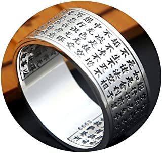 925 Ring Band Buddhism Scripture Silver Men Rings Engravable Size 11