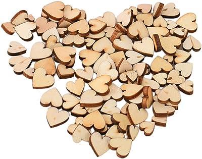100PCS Rustic Wood Crafts MINI Love Heart Table Scatter Decoration Wedding DIY