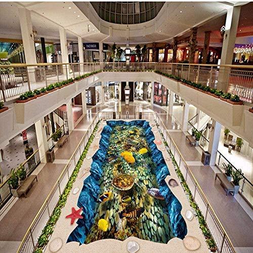 Carp Jumping Longyan puerta paisaje 3D piso pintura autoadhesivo antideslizante piso papel tapiz mural 350x250cm