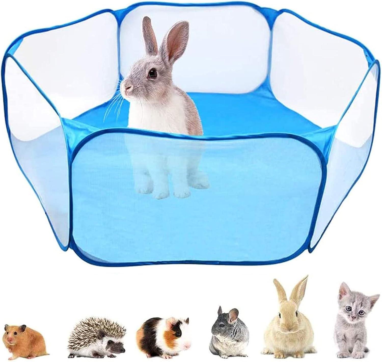 Jaulas para Animales Pequeños,Valla para Mascotas Plegable,Tienda de Jaula Plegable,Parque de Animales Pequeños,Animales Pequeños Valla Portátil para Conejillos de Indias Conejos (Azul)