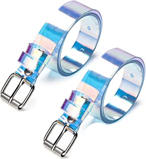 Surprise S 1Pc Transparent Women Laser Holographic Rainbow Clear Pin Buckle Wide Belt Strap Invisible Punk Waistband