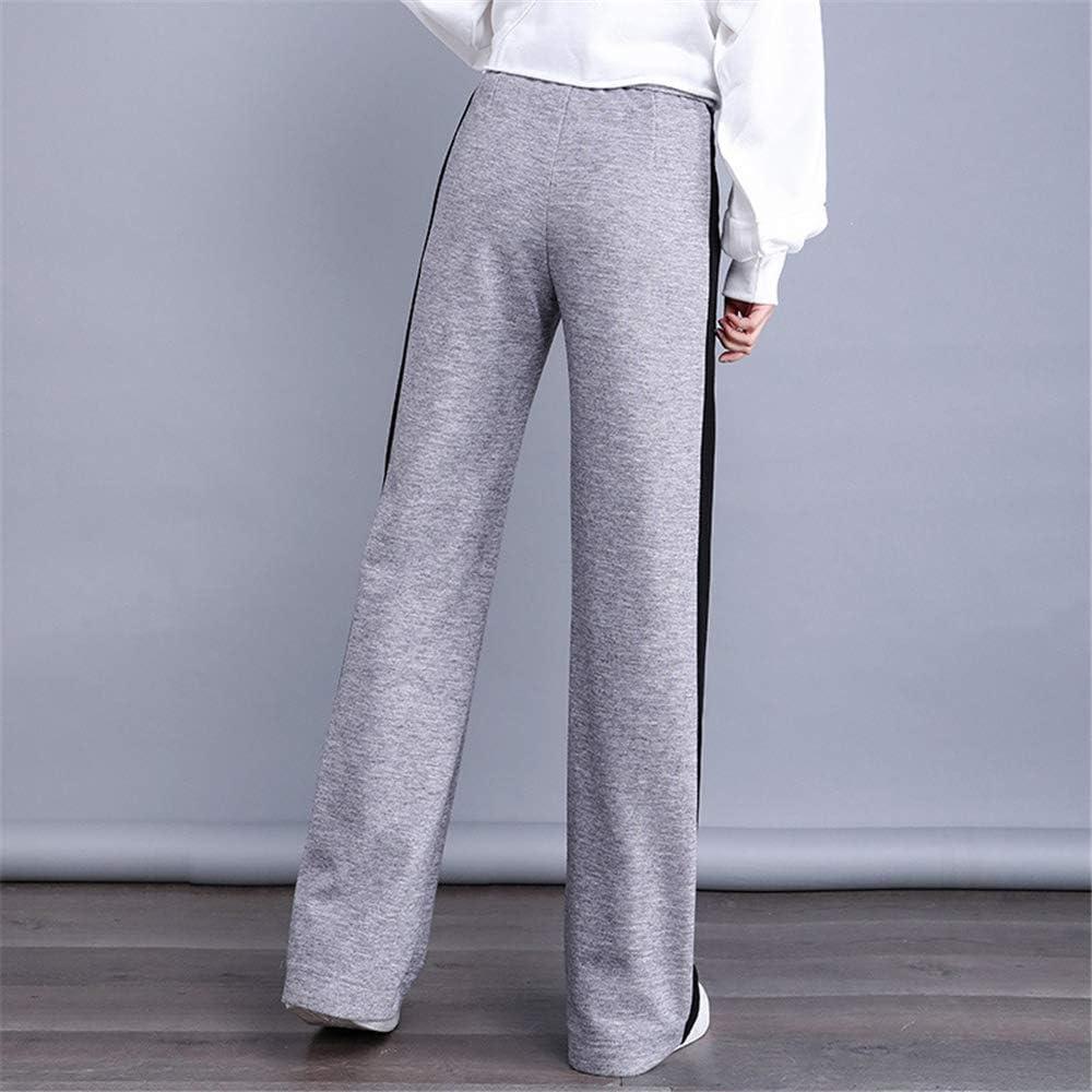 Pantalon Large en Tricot Taille Haute pour Femmes Était Mince Et Lâche Pantalon De Sport Décontracté À Rayures Latérales Gray
