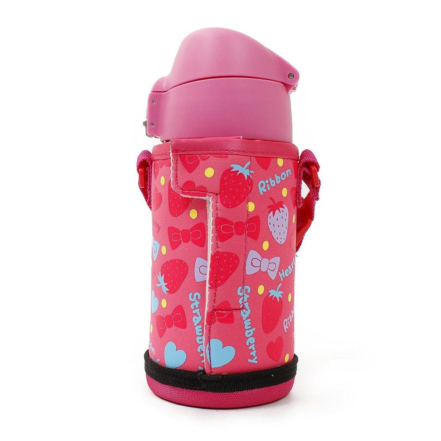 報酬のトロピカル雑草ふわふわAir 2WAYジュニア 450ml イチゴ 水筒 保温 保冷ボトル 621569 DBKS450PK