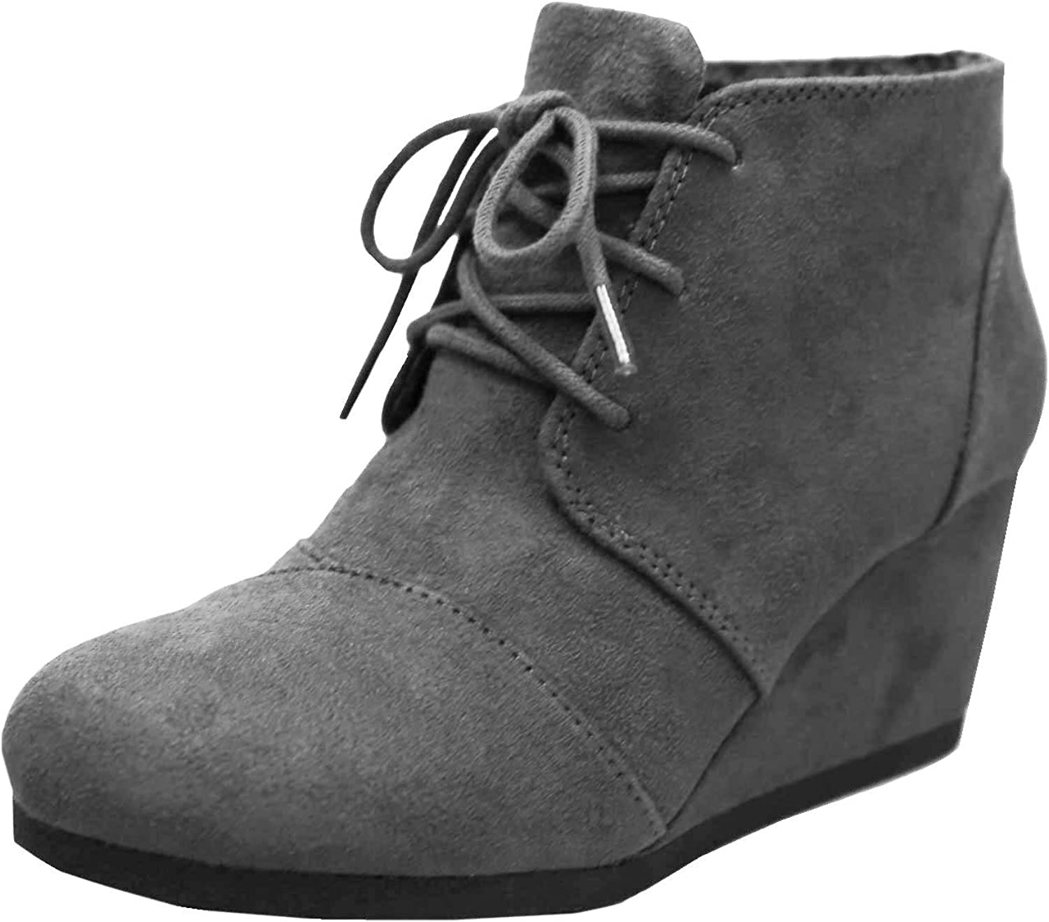 Cambridge Select Women's Classic Round Toe Lace-Up Wrapped Wedge Oxford Ankle Bootie