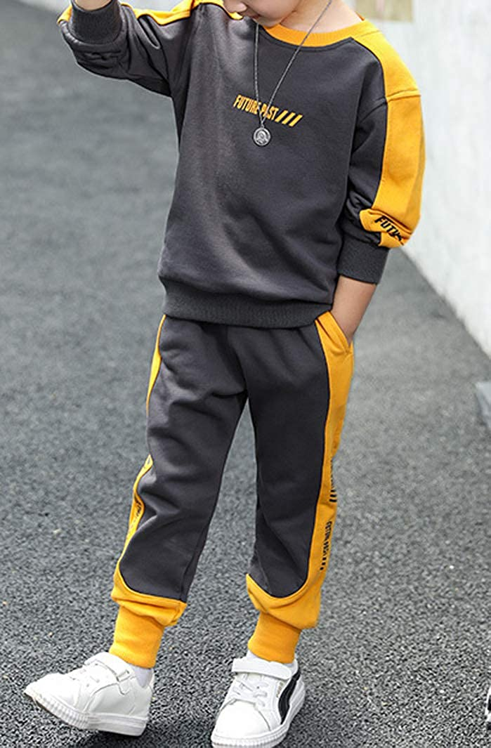 Details about  /2-16 Years Kids Boys Sports Hip Hops Hooded Hoodie Pants Set Sweater Trousers