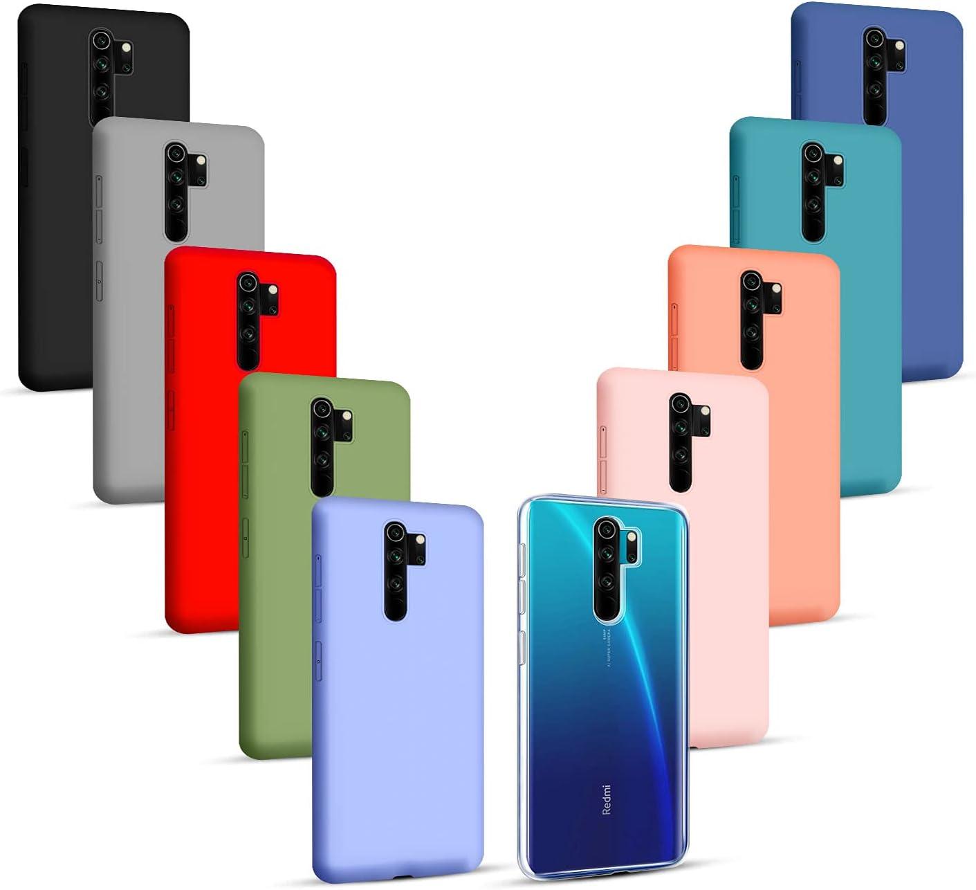Iuveruln 10X Funda Compatible Xiaomi Redmi Note 8 Pro, Ultra Delgado Color Sólido Silicona Carcasa, Anti-Rasguños Anti-Choque, TPU Flexible Cover, Transparente + 9 Colores