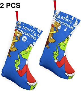 NiceTopp Family Christmas Stockings 2 Pcs Set 10 Inch,Fireplace Hanging Ornament Classic Stocking How Grinch Stole Christmas Decor for Candy Gift Bags