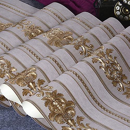 Telihome Gold Strukturiertes Vinyl Tapeten Für Wohnzimmer Wohnkultur 3D Luxus Tapetenbahn Gestreiften Damast Wandverkleidung,C,0.53 * 10M