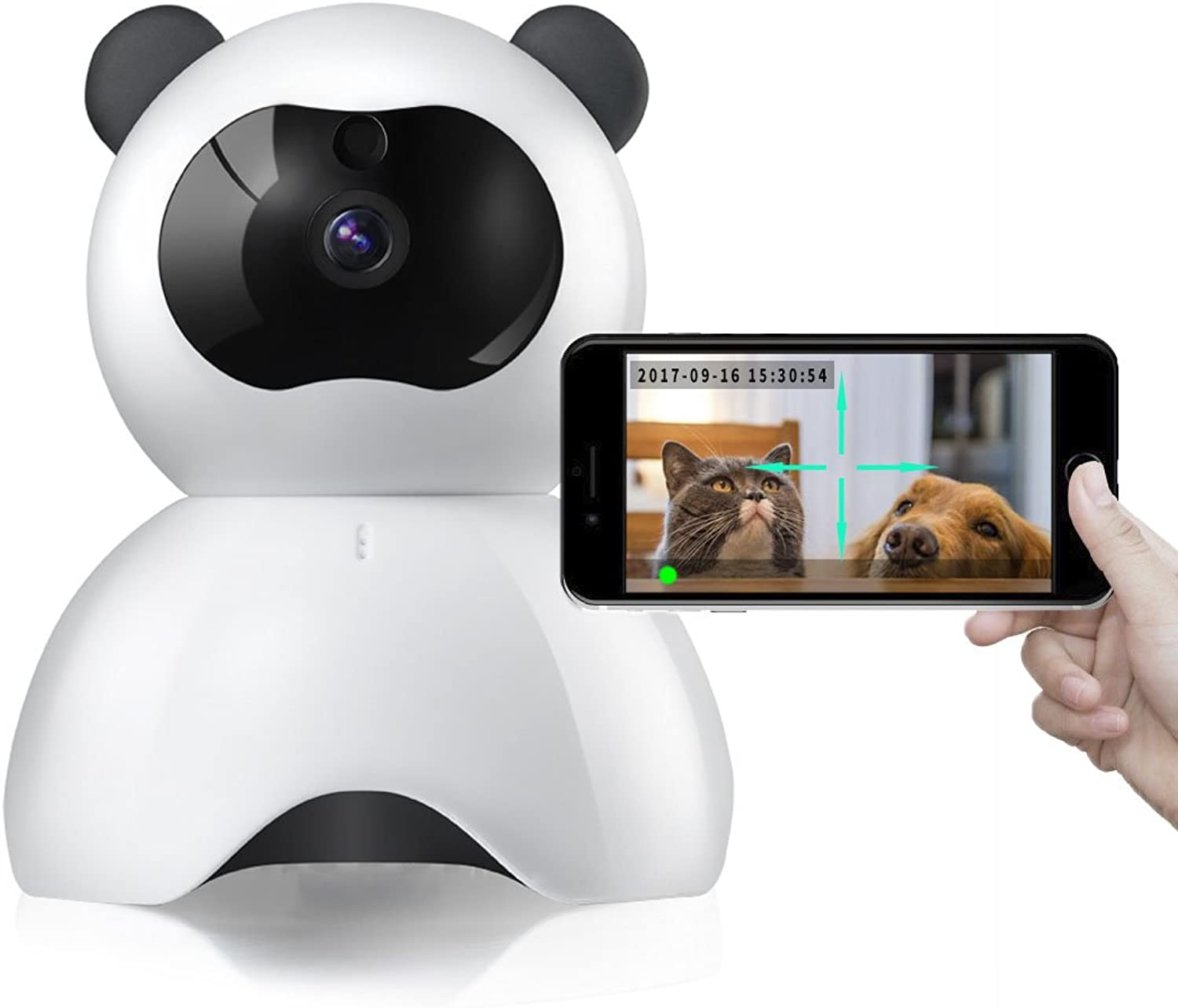 HVTKL Pet Monitor 720P HD Wireless Dog Monitor Twoway Audio Indoor Home Security IP Camera Night Vision