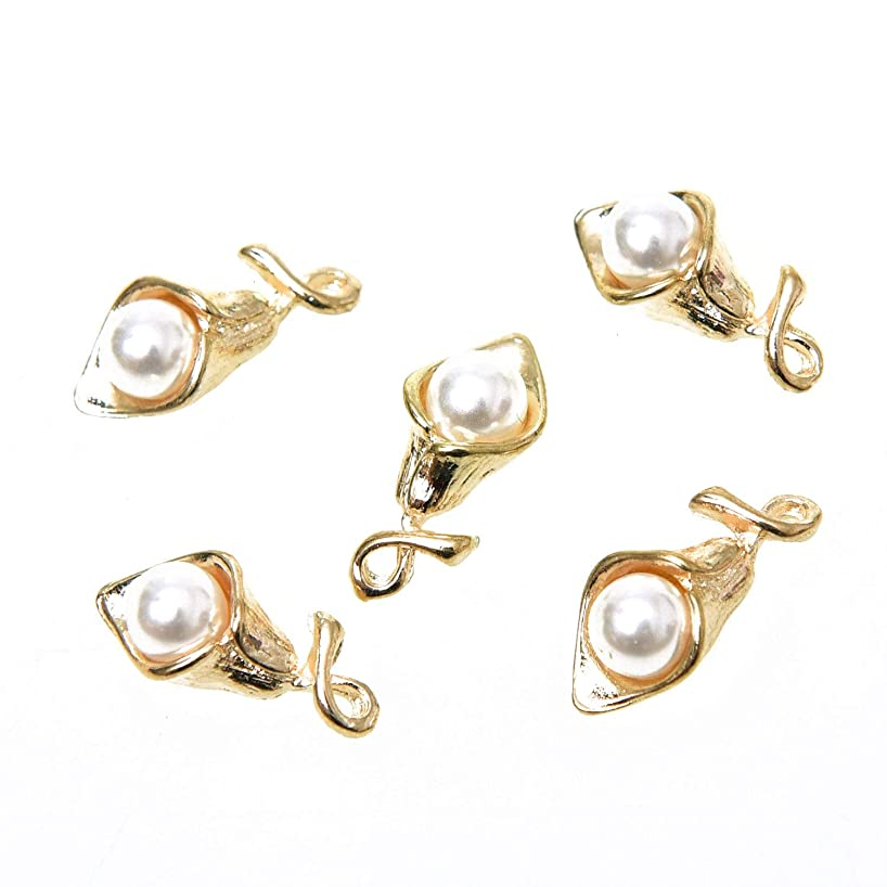 Monrocco Pack of 30 Gold Plated Alloy Flower Lily Charms with Inlaid Imitation Pearl Bulk for Jewelry Making, 19 x 0.9mm