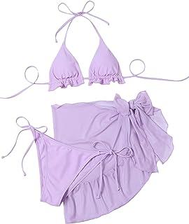 SweatyRocks Women's 3 Piece Swimsuit Halter Bikini Set with Cover Up Beach Skirt