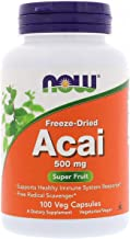 NOW Supplements, Acai 500 mg, Freeze-Dried Super Fruit with Polyphenols, Ellagic Acid, Rutin, Anthocyanins and Catechins, ...