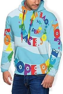 Men's Hoodie Plus Velvet Sweatshirt,Rainbow Colored Love Hope Peace Joy Message with Sixties Inspired Floral Illustration 3XL