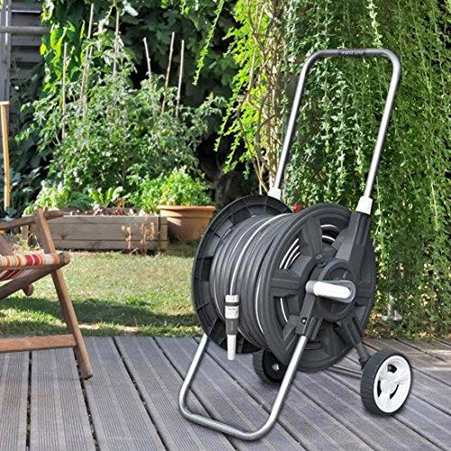 """WHITE SILVER 8 tlg. Schlauchwagen-Set, Gartenschlauch 30m 1/2\"""", Gartenbrause, Rasensprenger, Schlauchkupplung"""