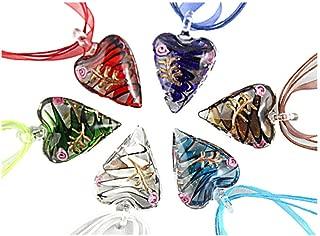 Beautiful Murano Heart Shaped Glass Pendant Necklace 6Pc Mix Color Set